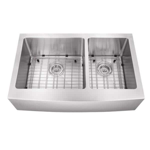 Cahaba Farmhouse Extra Large Apron Front Stainless Steel 35 7 8 In 60 40 Double Bowl Kitchen Sink Ca231235 The Home Depot