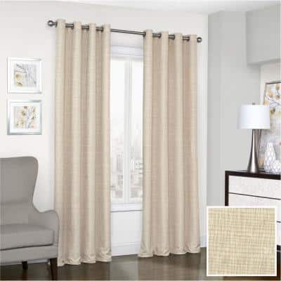 Trevi 52 in. W x 108 in. L Blackout Window Curtain in Natural