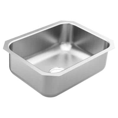 1800 Series Stainless Steel 23.5 in. Single Bowl Undermount Kitchen Sink with 8 in. Depth