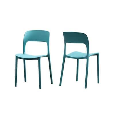 Kipford Teal Plastic Armless Chairs (Set of 2)