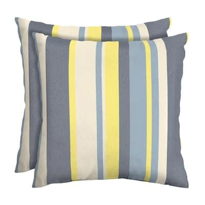 CushionGuard Yellow Jumbo Stripe Square Outdoor Throw Pillow (2-Pack)