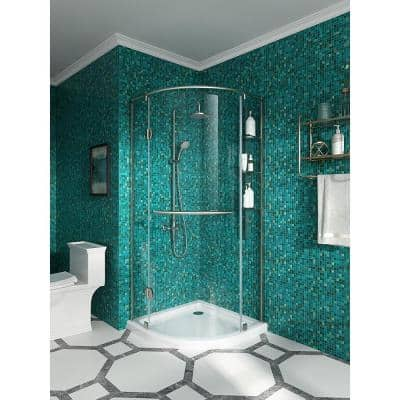Glamour 34 in. x 73.90 in. Semi-Frameless Pivot Shower Door in Satin Nickel with 34 in. x 34 in. Base in White