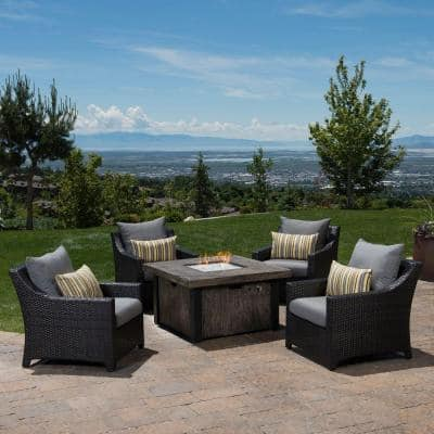 Deco 5-Piece Patio Fire Pit Seating Set with Charcoal Grey Cushions