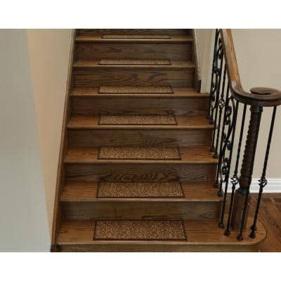 Escalier Collection Brown 8 in. x 26 in. Rubber Back Stair Tread (Set of 5)