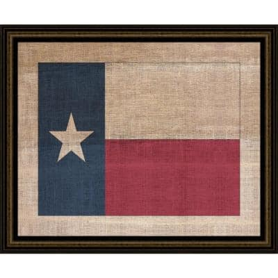 """29 in. x 23 in. """"Texas State Flag on Distressed Linen"""" Framed Giclee Print Wall Art"""