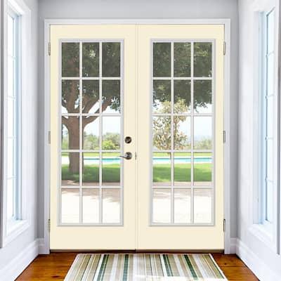 Prehung 15 Lite Fiberglass Patio Door with No Brickmold in Vinyl Frame
