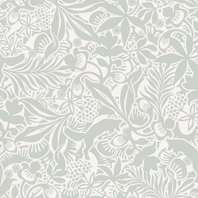 Lummig Fox Seafoam Botanical Paper Strippable Roll Wallpaper (Covers 57.8 sq. ft.)