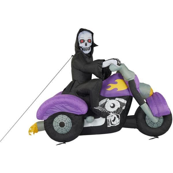 Haunted Hill Farm Haunted Hill Farm 6 Ft Skeleton On Motorcycle Halloween Inflatable With Lights Hiskbike81 L The Home Depot
