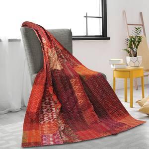 Patchwork Tiled Happie Maroon Silk Blend Kantha Throw