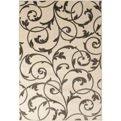 Patio Brights White 5 ft. x 7 ft. 3 in. Camilia Indoor/Outdoor Area Rug
