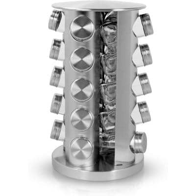 Revolving 20-Jar Countertop Spice Rack, Stainless Steel Silver Finish