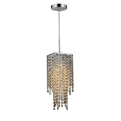 Sheea Chrome Indoor Crystal Falls Chandelier with Shade