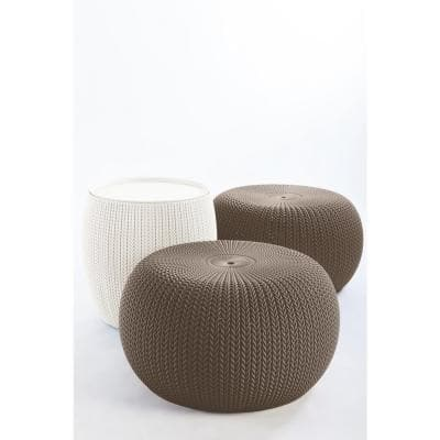 KNIT Cozy Urban Harvest Brown and Oasis White 3-Piece All-Weather Patio Conversation Set