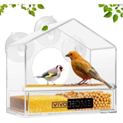 Sloping Roof Acrylic Window Bird Feeder with Suction Cups and Partitioned Tray