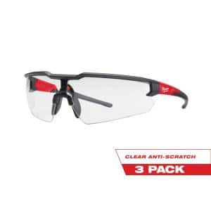 Safety Glasses with Clear Anti-Scratch Lenses (3-Pack)