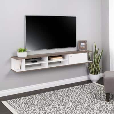 Wall Mounted White & Drifted Gray Media Console with Door
