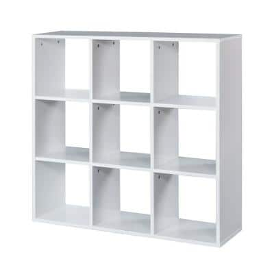 35.4 in. White Wood 9-shelf Cube Bookcase with Open Back