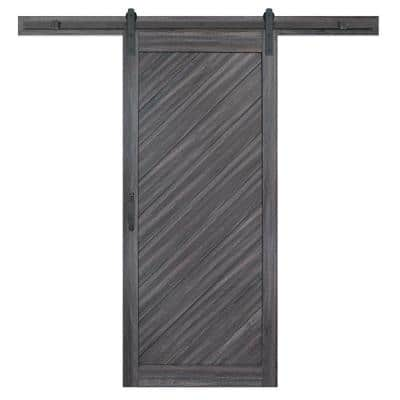 36 in. x 84 in. Diagonal Stormy Gray Interior Sliding Barn Door Slab with Hardware Kit