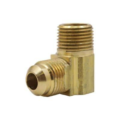 3/8 in. Flare x 3/8 in. MIP 90-Degree Brass Elbow Fitting