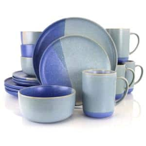 Convergence 16-Piece Casual Blue Stoneware Dinnerware Set (Service for 4)