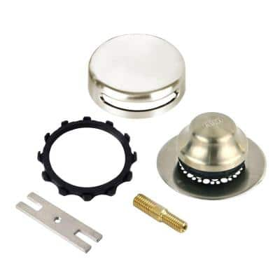 Universal NuFit Foot Actuated Bathtub Stopper with Grid Strainer and Combo Pin Adapter Kit, Brushed Nickel