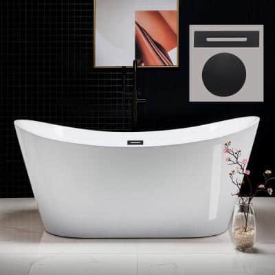 Bayfield 67 in. Acrylic FlatBottom Double Slipper Bathtub with Matte Black Overflow and Drain  Included in White