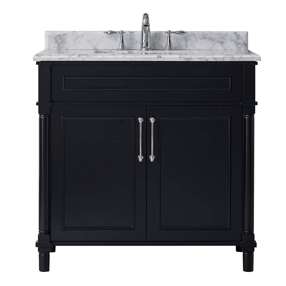Home Decorators Collection Aberdeen 36 In W X 22 In D Vanity In Black With Carrara Marble Top With White Sink Aberdeen 36b The Home Depot