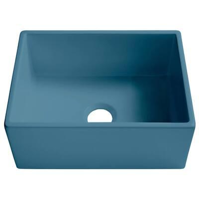 Bradstreet II Oceanside Matte Blue Fireclay 24 in. Single Bowl Farmhouse Apron Kitchen Sink