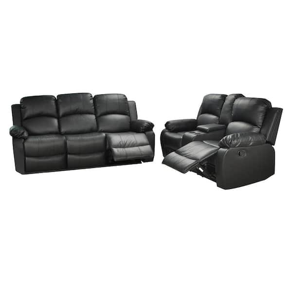 Star Home Living Belle 2 Piece Black, Faux Leather Living Room Set