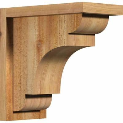 6 in. x 12 in. x 12 in. Western Red Cedar New Brighton Rough Sawn Corbel with Backplate