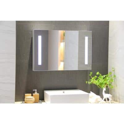 36 in. W x 24 in. H Recessed or Surface Frameless 2-Door Medicine Cabinet with Motion Sensor Switch