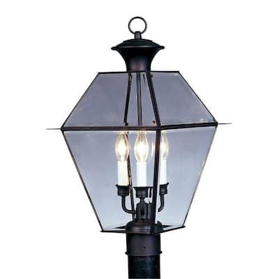 Westover 3 Light Black Outdoor Post Top Lantern
