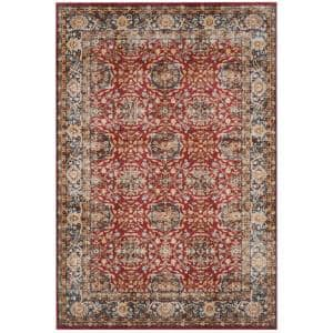 Bijar Red/Royal 9 ft. x 12 ft. Border Floral Geometric Area Rug