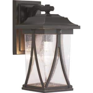 Abbott Collection 1-Light Antique Bronze Clear Seeded Glass Craftsman Outdoor Small Wall Lantern Light