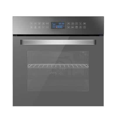 24 in. Single Electric Wall Oven with Convection Tempered Glass in Stainless Steel