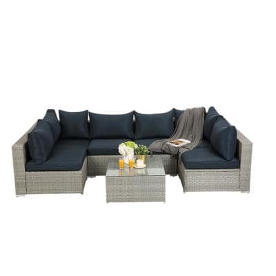 Lithium Gray 7-Piece Wicker Lithium Outdoor Garden Patio Furniture Sectional Sofa Sets with Dark Blue Cushions