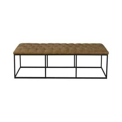 Draper Light Brown Faux Leather Large Decorative Bench/Ottoman with Button Tufting 18 in. H x 57.50 in. W x 27.75 in. D