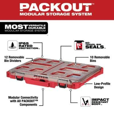PACKOUT 11-Compartment Low-Profile Impact Resistant Portable Small Parts Organizer