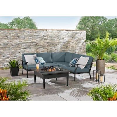 Riley 3-Piece Black Steel Outdoor Patio Sectional Sofa with Sunbrella Denim Blue Cushions