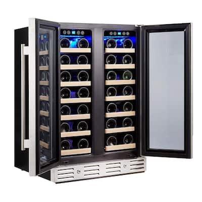 24 in. 40-Bottle Wine Cooler Refrigerator Built-In Dual Zone, Stainless Steel Door and Handle