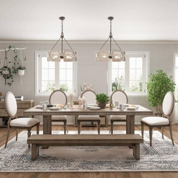 Lnc Jolla Farmhouse 3 Light Rustic, White Chandeliers For Dining Rooms
