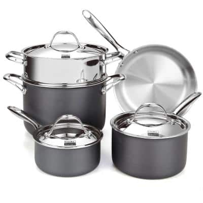 Multi-Ply Clad 8-Piece Stainless Steel Cookware Set in Stainless Steel and Black