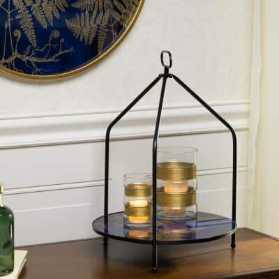 Assorted Gold and Blue Glass Table Top Trays with Gold Fern Accents (Set of 2)