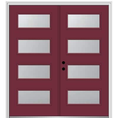 72 in. x 80 in. Celeste Right-Hand Inswing 4-Lite Frosted Painted Fiberglass Smooth Prehung Front Door 4-9/16 in. Frame
