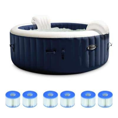 6-Person Portable Inflatable Hot Tub w/Filter Replacement Cartridges (3-Pack)