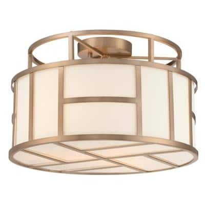 Danielson 16.75 in 3-Light Vibrant Gold Flush Mount