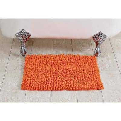 Loopy Chenille Collection Orange 24 in. x 24 in. 100% Cotton Bath Rug