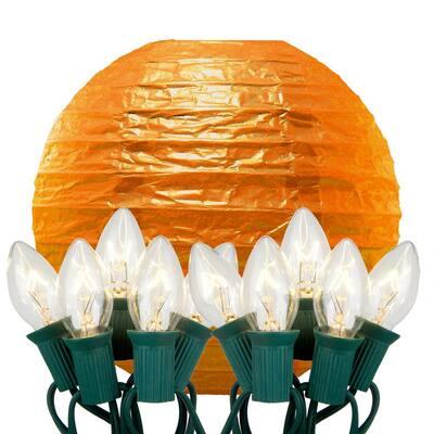 10 in. 10-Light Orange Paper Lantern String Lights