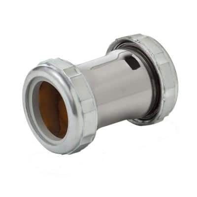 1-1/4 in. x 2 in. 20-Gauge Chrome-Plated Brass Double Slip-Joint Compression Coupling