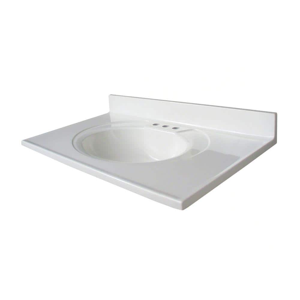 Glacier Bay Newport 37 In Cultured Marble Vanity Top With Sink In White N37gb W The Home Depot